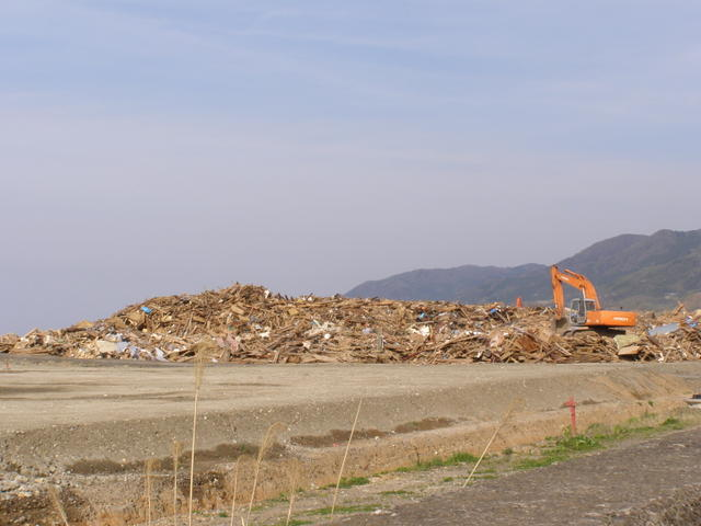 901 近所の海岸 臨時の廃材置き場